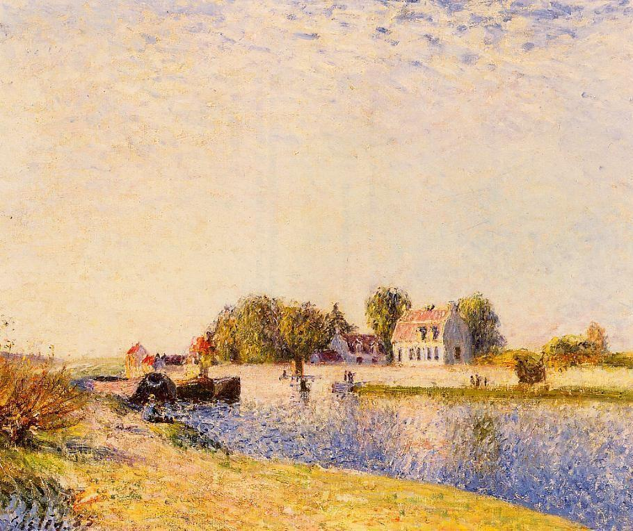 The Dam on the Loing Barges - Alfred Sisley