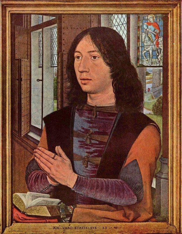 The Donor, from the right wing of the Diptych of Maerten van Nieuwenhove  - Hans Memling