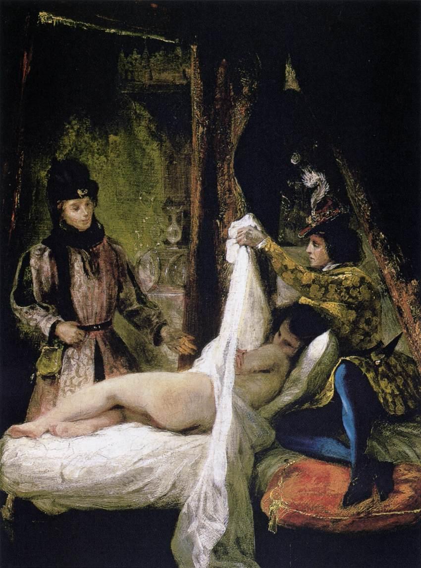 The Duc d'Orleans Showing his Mistress to the Duc de Bourgogne  - Eugene Delacroix