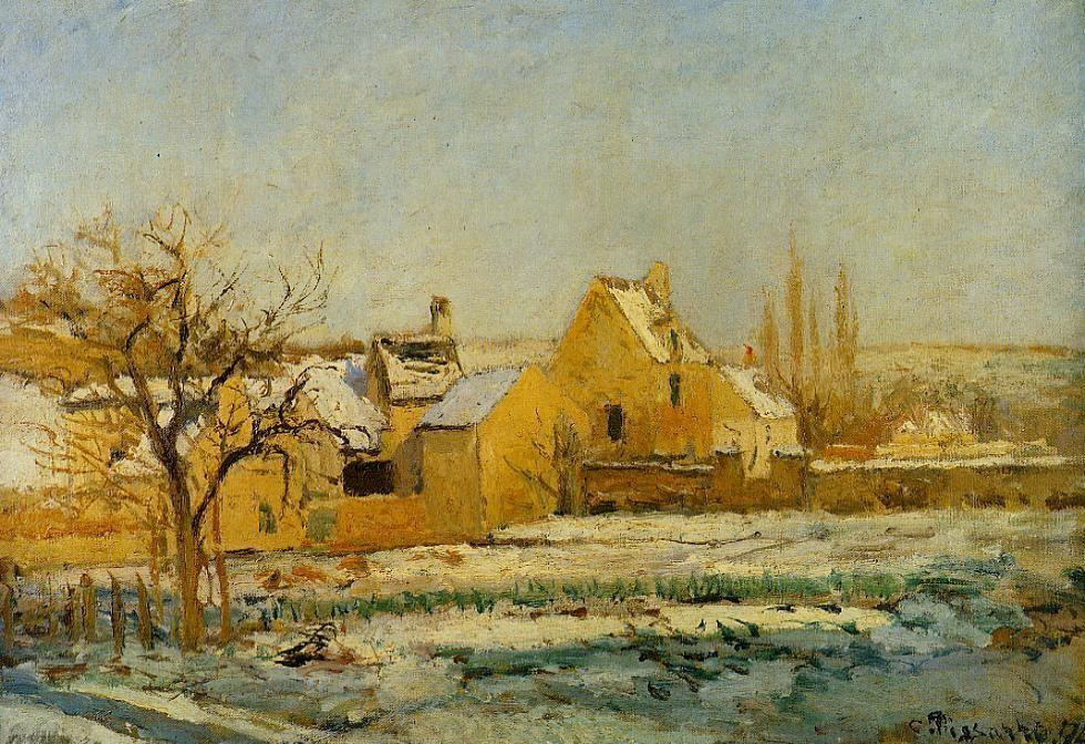 The Effect of Snow at Hermitage - Camille Pissarro