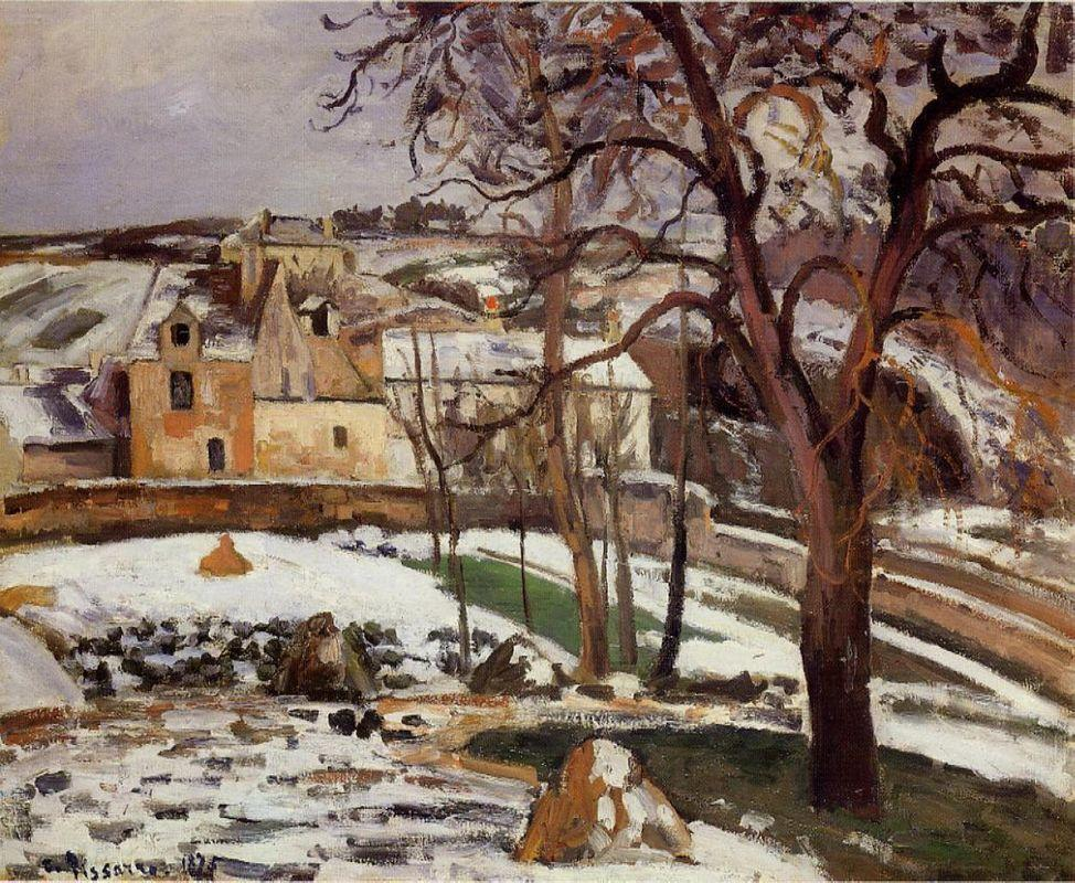 The Effect of Snow at l'Hermitage, Pontoise - Camille Pissarro