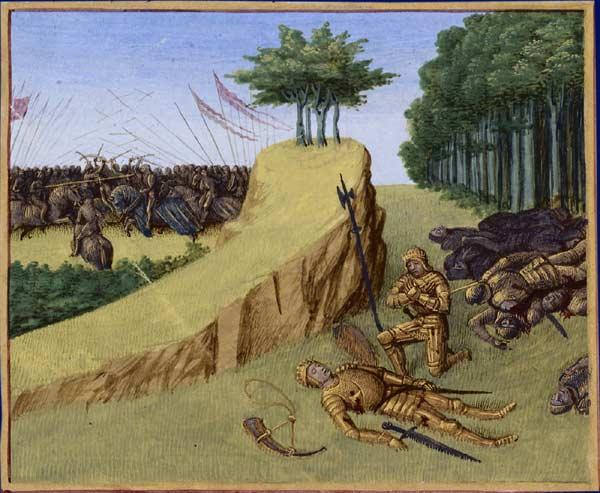 The Emperor Charlemagne Finds Roland's Corpse after the Battle of Roncevaux - Jean Fouquet