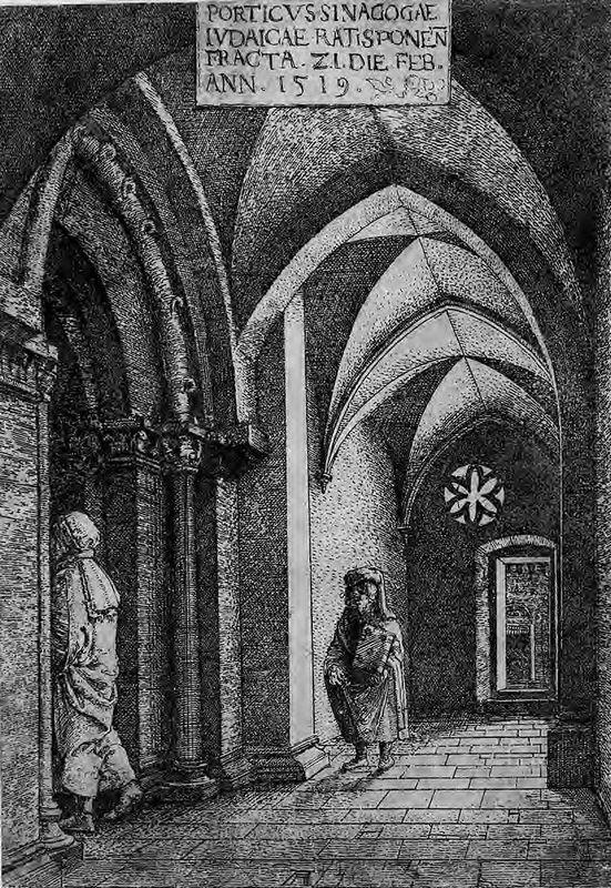 The Entrance Hall of the Regensburg Synagogue - Albrecht Altdorfer
