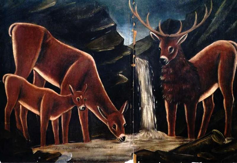 Deer with their fawns - Niko Pirosmani