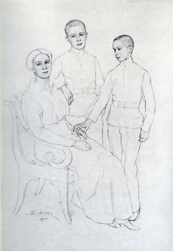 The Family Portrait (Klavdiya Yuon, artist's wife, and sons Boris and Igor) - Konstantin Yuon