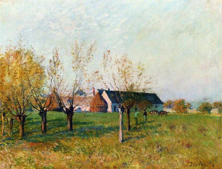 The Farm at Trou d Enfer, Autumn Morning - Alfred Sisley