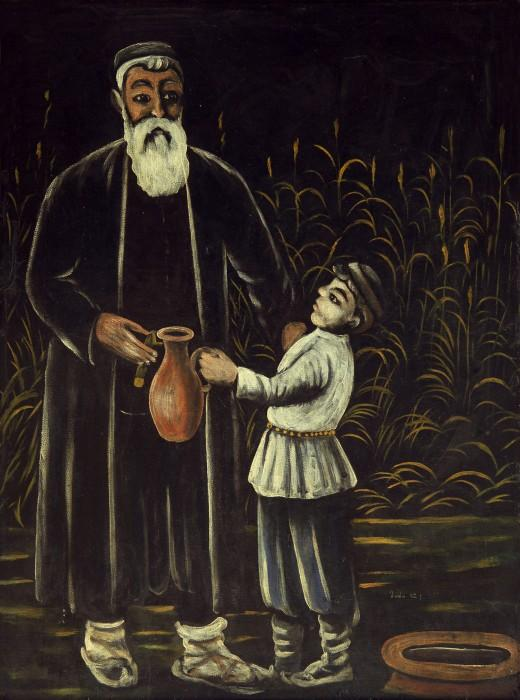 Peasant and his son - Niko Pirosmani