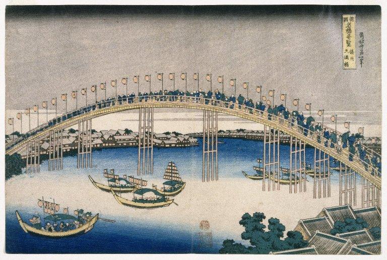 The Festival of Lanterns on Temma Bridge - Katsushika Hokusai