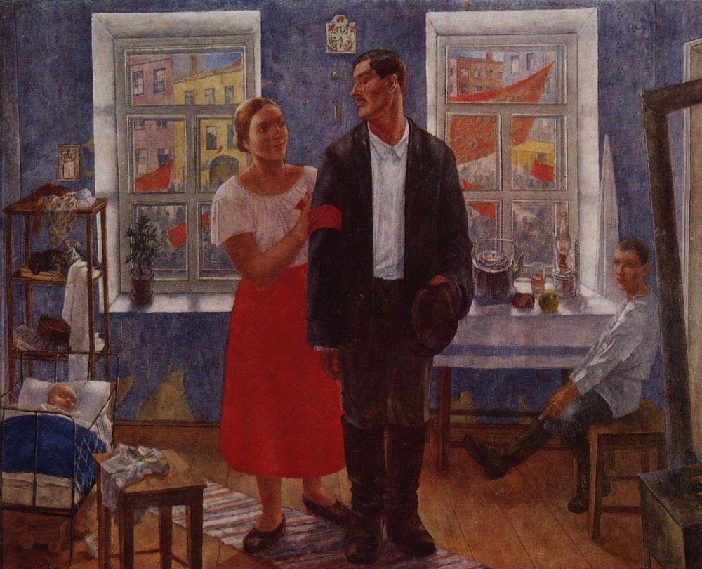 The first demonstration (Family working on the first anniversary of October)  - Kuzma Petrov-Vodkin