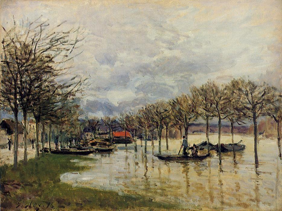 The Flood on the Road to Saint Germain - Alfred Sisley