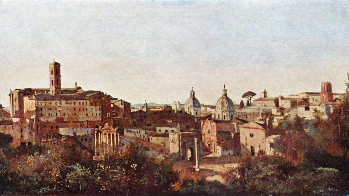 The Forum seen from the Farnese Gardens, Rome - Camille Corot