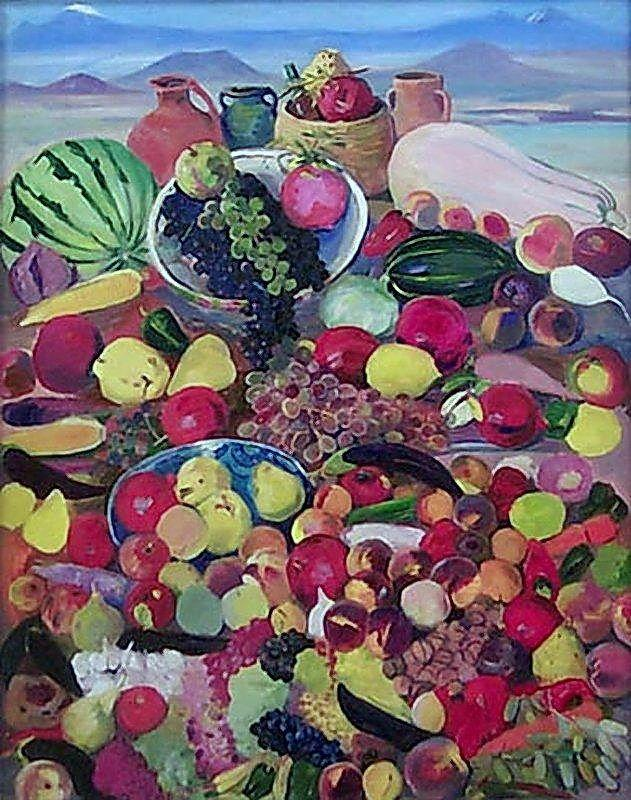 The fruits from rocky slopes of Aragats - Martiros Saryan