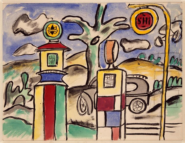The gas station (study for the city) - Fernand Leger