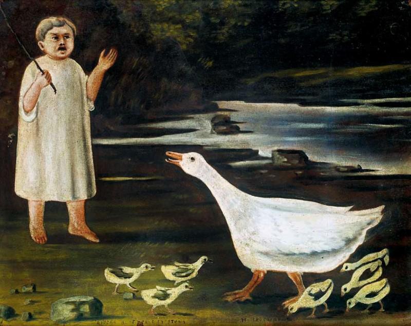 Girl grazing a goose with goslings - Niko Pirosmani