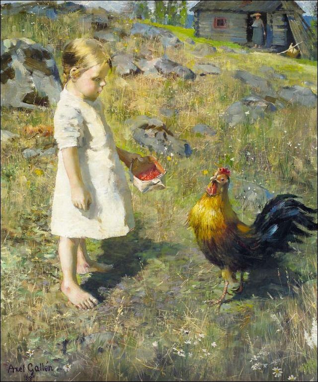 The girl and the rooster  - Akseli Gallen-Kallela