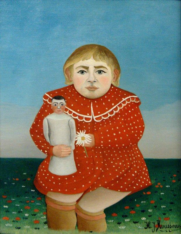 The girl with a doll  - Henri Rousseau