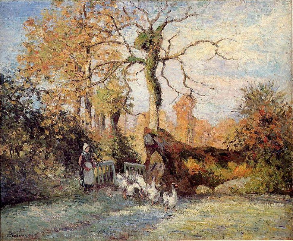 The Goose Girl at Montfoucault, White Frost - Camille Pissarro