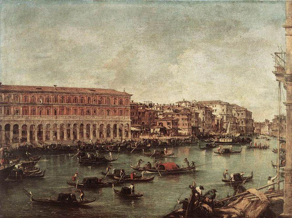 The Grand Canal at the Fish Market (Pescheria) - Francesco Guardi