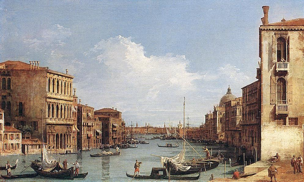 The Grand Canal from Campo San Vio towards the Bacino - Canaletto