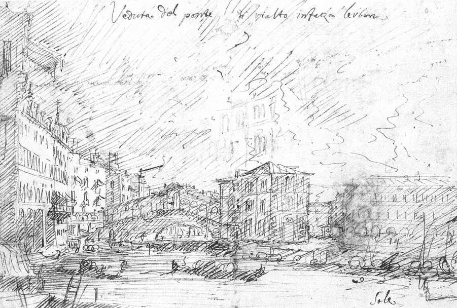 The Grand Canal nethe Ponte del Rialto - Canaletto