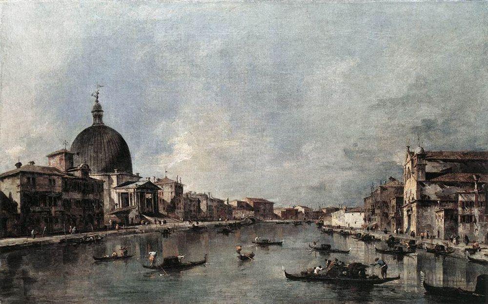 The Grand Canal with San Simeone Piccolo and Santa Lucia - Francesco Guardi