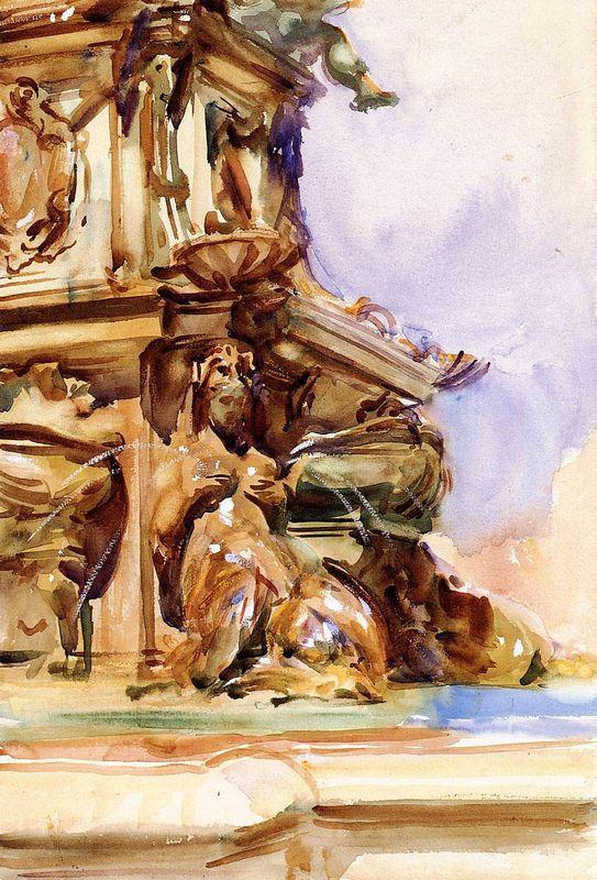 The Great Fountain of Bologna - John Singer Sargent