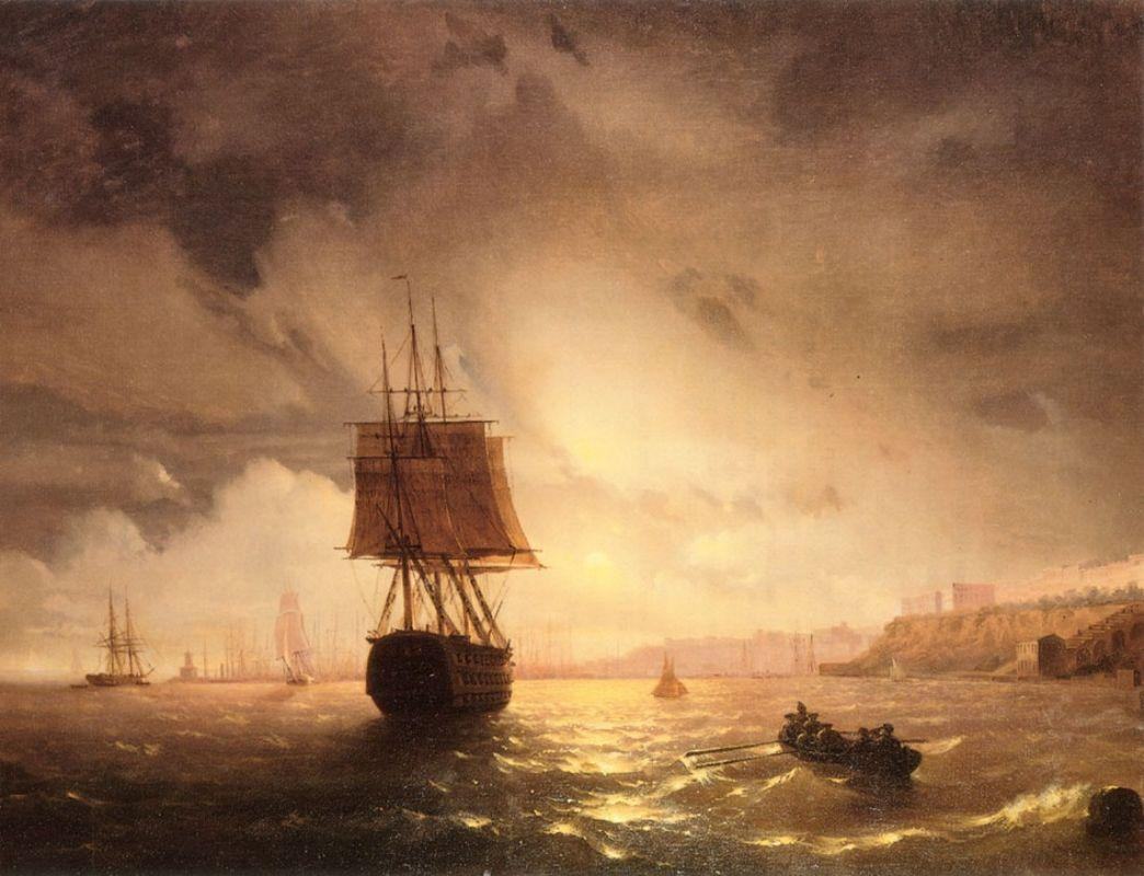 The Harbor At Odessa On The Black Sea - Ivan Aivazovsky