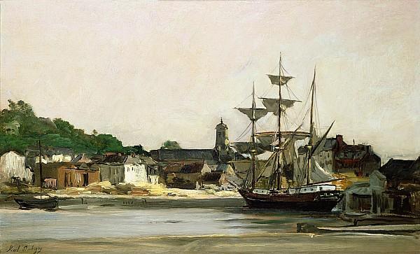 The Harbour at Honfleur - Charles-Francois Daubigny