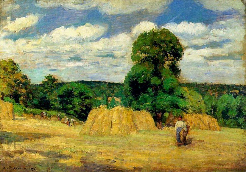 The Harvest at Montfoucault - Camille Pissarro