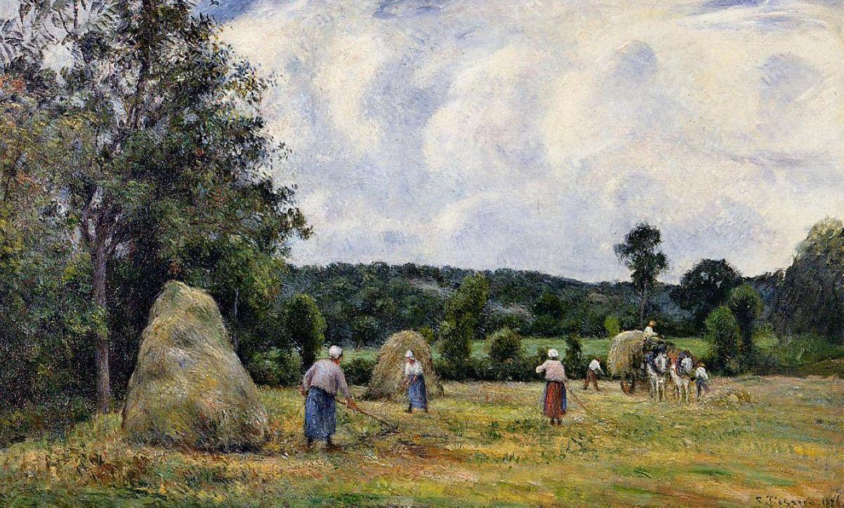 The Harvest at Montfoucault 2 - Camille Pissarro