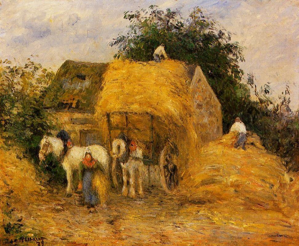 The Hay Wagon, Montfoucault - Camille Pissarro