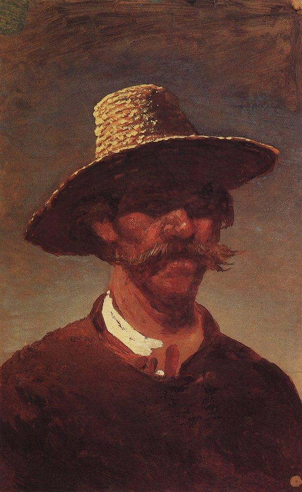 The head of a Ukrainian peasant in a straw hat - Arkhip Kuindzhi