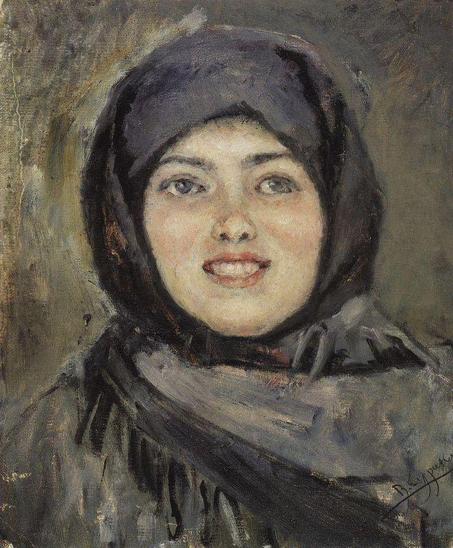 The head of laughting girl - Vasily Surikov