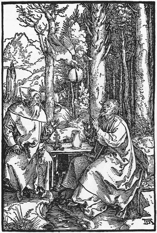 The Hermits St Anthony and St Paul - Albrecht Durer
