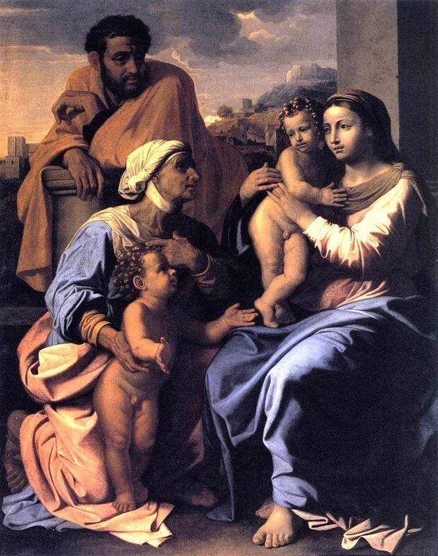 The Holy Family with St. Elizabeth and John the Baptist - Nicolas Poussin