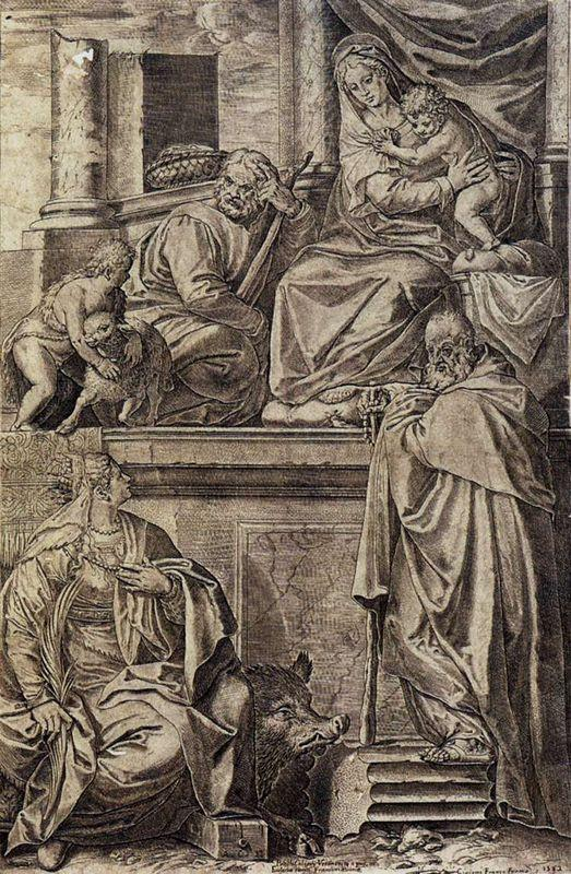 The Holy Family with Sts. Anthony Abbot, Catherine and the Infant St. John - Agostino Carracci