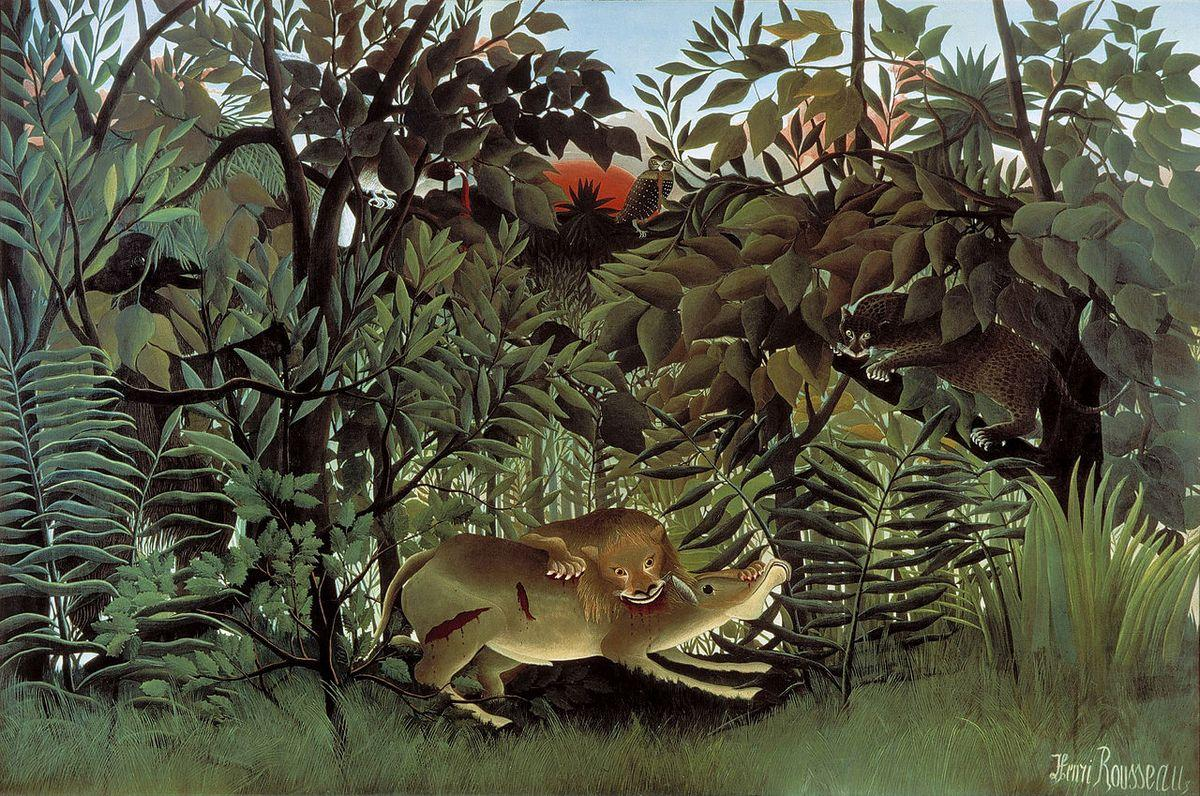 The Hungry Lion Throws Itself on the Antelope - Henri Rousseau