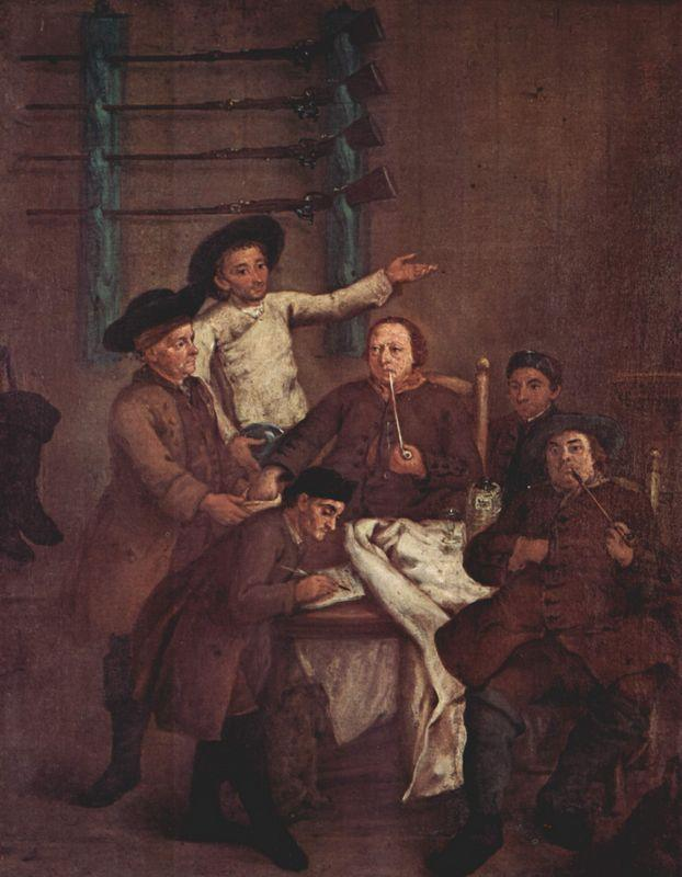 The Hunters Drawing Numbers  - Pietro Longhi