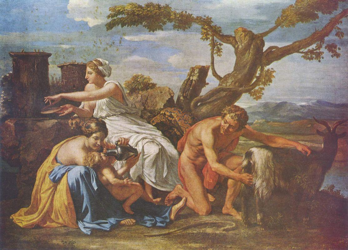 The Infant Jupiter Nurtured by the Goat Amalthea - Nicolas Poussin