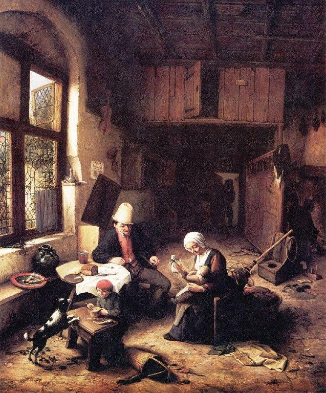 The Interior of a Peasant's Cottage - Adriaen van Ostade