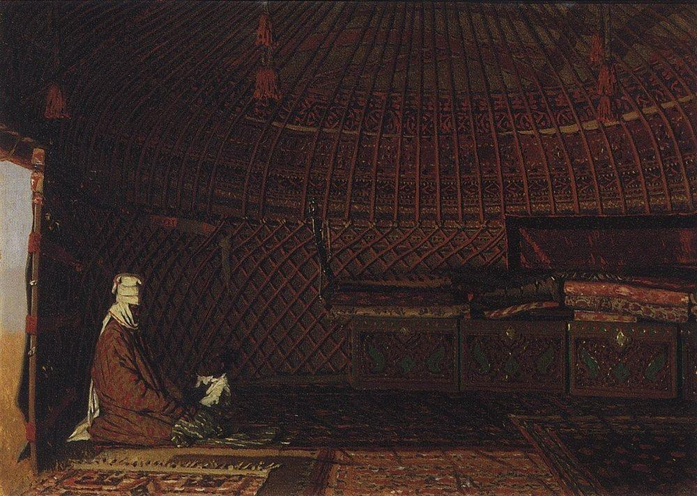 The interior of the yurt of rich Kirghiz - Vasily Vereshchagin