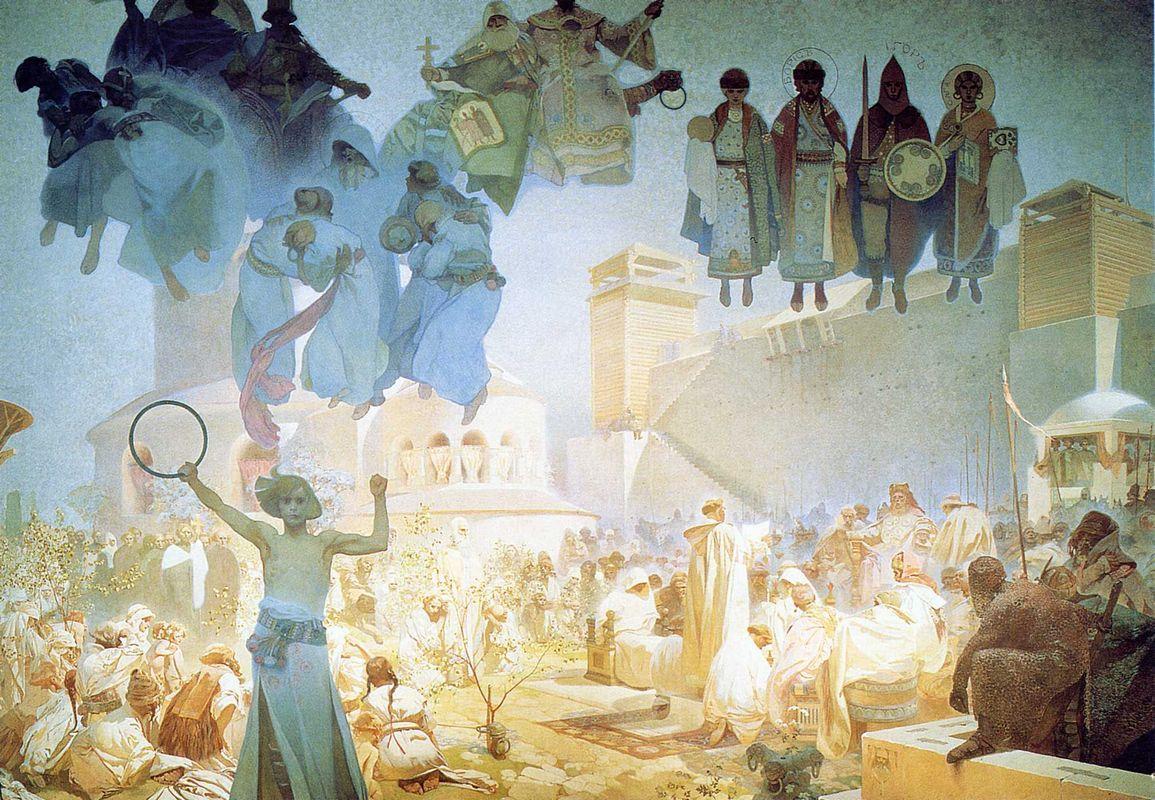 The Introduction of the Slavonic Liturgy - Alphonse Mucha