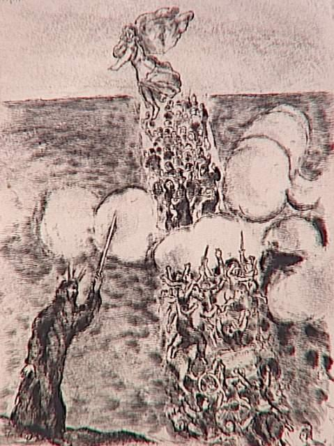 The Israelites pass the Red Sea, however the first chariots of the Egyptian army are drowned (Exodus, XIV, 19-28) - Marc Chagall