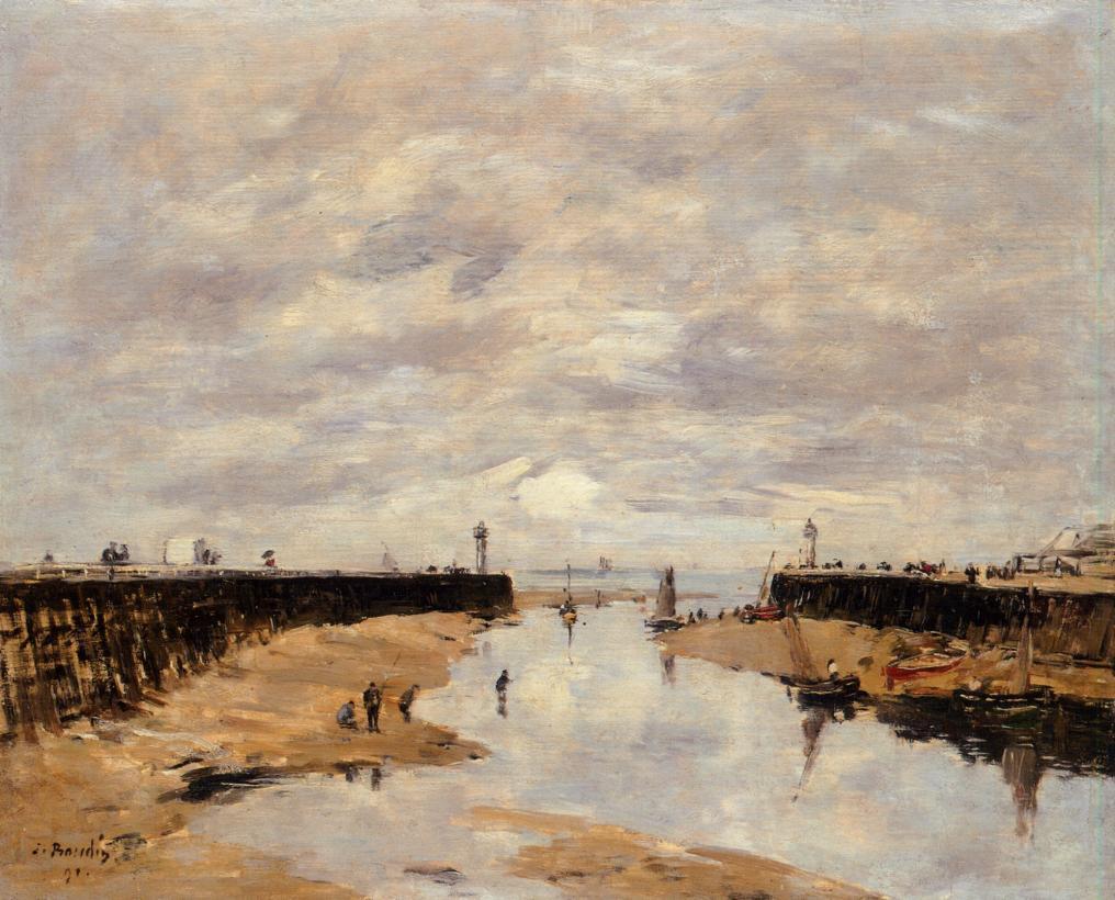 The Jetties, Low Tide, Trouville - Eugene Boudin