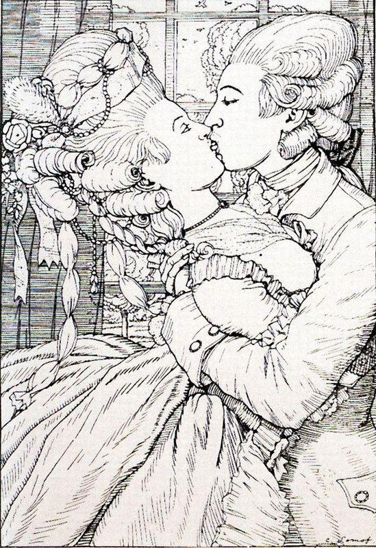 The Kiss. Illustration to the Book of the Marquise - Konstantin Somov