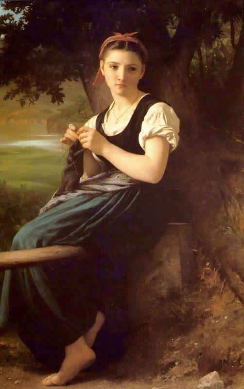 The Knitting Girl - William-Adolphe Bouguereau
