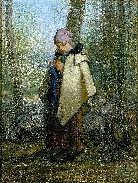 The Knitting Shepherdess - Jean-Francois Millet