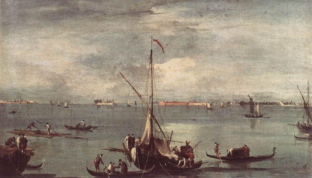 The Lagoon with Boats, Gondolas, and Rafts - Francesco Guardi