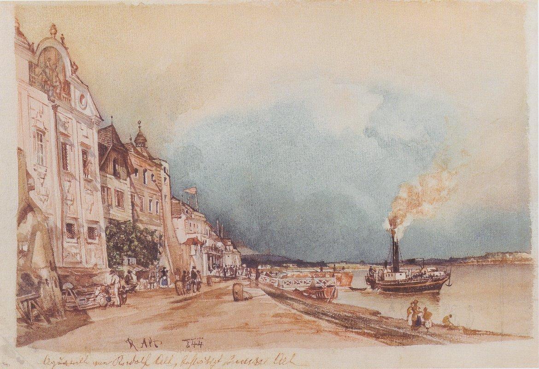 The landing site in Stein an der Donau - Rudolf von Alt