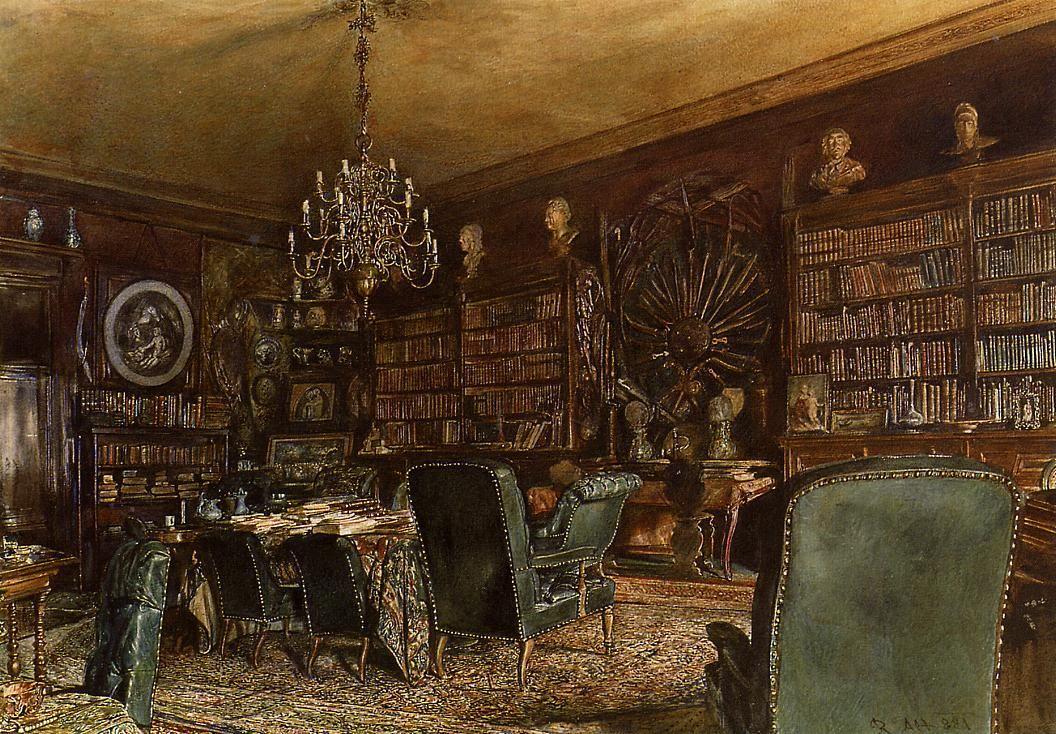 The Library of the Palais Lanckoronski, Vienna - Rudolf von Alt